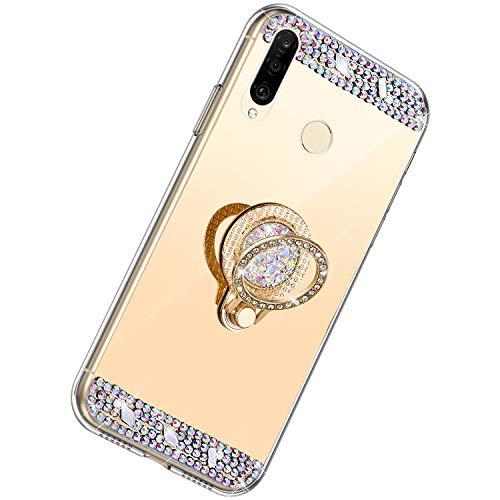 Herbests Kompatibel mit Huawei P30 Lite Hülle Glitzer Kristall Strass Diamant Silikon Handyhülle mit Ring Halter Ständer Schutzhülle Überzug Spiegel Clear View Handytasche,Gold