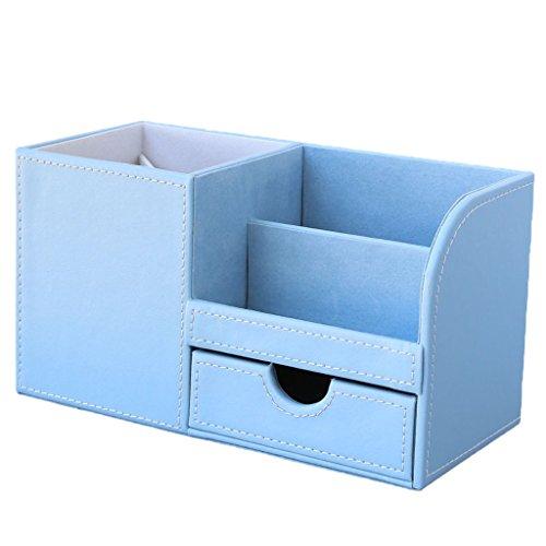 MagiDeal Kunstleder Tisch Organizer / Schreibtisch Organisator / Schreibtisch Ordnungssystem / Stifthalter / Multifunktions Organisator mit Mini Schublade - Hellblau, 22.5x10x12cm