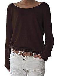 ZANZEA Damen Langarm Lose Bluse Hemd Shirt Oversize Sweatshirt Oberteil Tops  Kaffee EU 36-38 4b2ed0193e