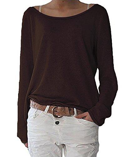 ZANZEA Damen Langarm Lose Bluse Hemd Shirt Oversize Sweatshirt Oberteil Tops Kaffee EU 46/Etikettgröße XL