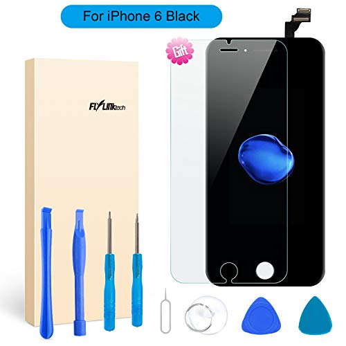 Ersatz-Display für iPhone 6Black LCD Display 3D Touch Digitizer Bildschirm mit Montage mit der Reparatur Tool Kit + Displayschutzfolie (iPhone 6Schwarz) (Tool Kit Black)