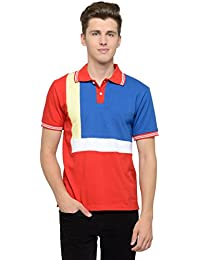 Attabouy Mens Red Cotton Polo T-shirt With Yellow And White Stripe