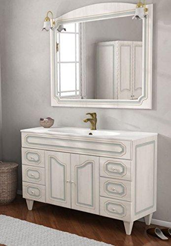Mobile arredo bagno arte povera decapè da 120 cm lavabo bianco in ceramica con specchio mobili