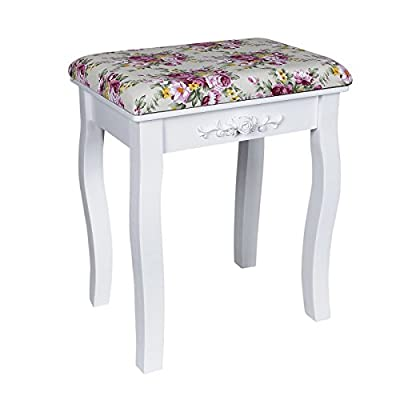 Songmics White Dressing Table Stool with rose cusion padded for piano chair RDS50H