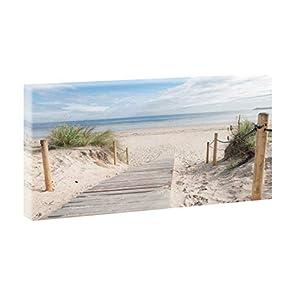 Bild auf Leinwand mit Nordsee-Motiv Weg zum Strand 3 – 40×30 cm Wandbild im XXL-Format, Leinwandbild mit Kunstdruck ungerahmt, Landschaftsbild fertig auf Holzrahmen gespannt, Made in Germany