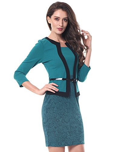Kenancy Damen 3/4 Arm Bleistiftkleid Kontrastfarbe Bodycon Etui Businesskleid Enge Kleid mit Gürtel Grün