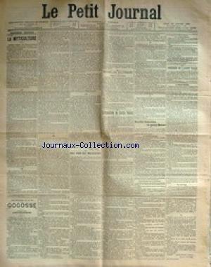 PETIT JOURNAL (LE) [No 13173] du 19/01/1899 - LA MYTICULTURE - PRIS POUR DES MALFAITEURS A PARIS - LES FRERES F. ET JEAN BOUCHARENC - SOUDAN ET COTE D'IVOIRE - L'EXPOSITION DU CERCLE VOLNEY - LOUIS PRETET - B. CONSTANT - NOUVELLES DECLARATIONS DU GENERAL MERCIER - LES OBSEQUES DE L'AGENT VALLE