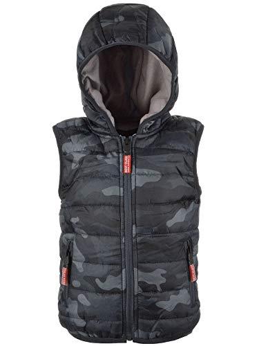 BEZLIT Kinder Jungen Kapuzen Weste Camouflage Übergangs Winter Gefüttert Jacke 22890 Schwarz 140