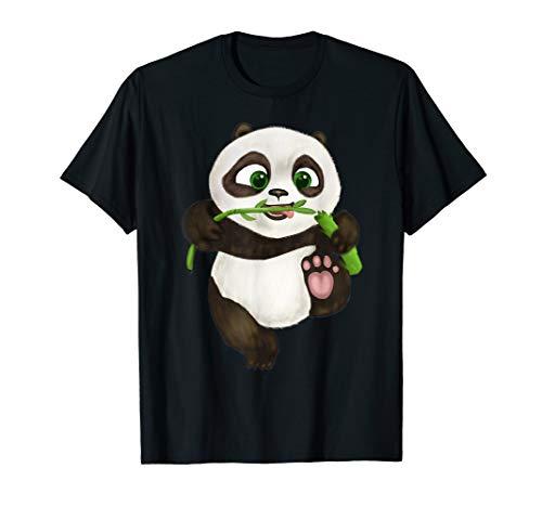 Tee Cute Baby Panda Hand Painted Cartoon Bear Eating Bamboo T-Shirt -