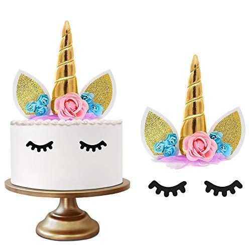 GOEU Decoración de Unicornio para Tartas de Cumpleaños-Tarta de Unicornio y Cuerno de Oro Unicornio 3D, Dos Pestañas y 7 Flores para Fiesta,Cumpleaños y Boda