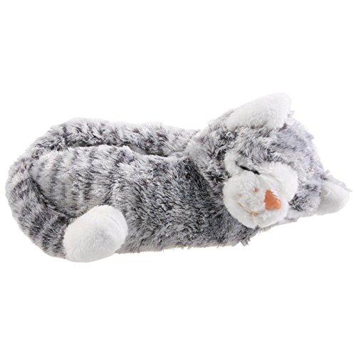 SAMs Katze Tier Hausschuhe Pantoffel Puschen Schlappen Kuscheltier Plüsch Damen Kinder 30-41, TH-Ca, Farbe grau, Größe 37/39