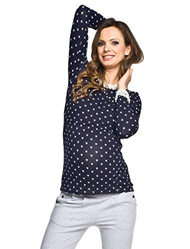 Umstandsmode von Torelle - 2in1 Stillshirt, Umstandsshirt, Modell: GAJA, dunkelblau mit Herz, L