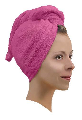 1 x Haarpunzel Turban Haartrockentuch Handtuch Kopftuch Farbe: pink