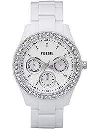 Fossil - ES1967 - Montre Femme - Quartz Analogique - Cadran Blanc - Bracelet Polycarbonate Blanc - Lunette Empierrée