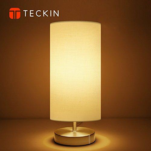 Nachttischlampe, Tischlampe aus Stoff TECKIN Minimalist Stoff Schreibtischlampe Moderne Nachttischlampe mit Zirkelfuß,Nachtlicht Kind 4W LED Birne Nachtlampe (Birne Stand)