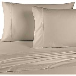 orpheebs Juego de sábanas, de satén de algodón de 250 hilos/cm², 100% algodón peinado, de 3 piezas (sábana de 230 x 260 cm + 2 fundas de almohada de 50 x 76 cm), varios colores disponibles - marrón
