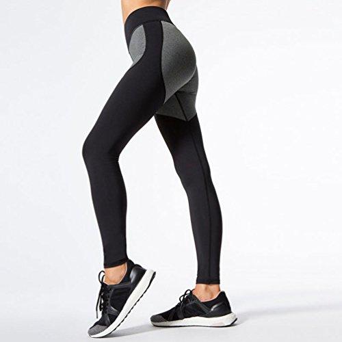 Yiiquan Donna Traspirante Sport Pantaloni di Yoga, Fitness Athletic Palestra Leggings Cucitura Colori Nero Grigio