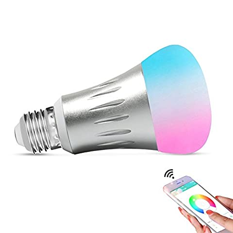 Expower Smart WiFi Light, Dimmable 7W RGB Led Bulb E27 Works with Amazon Alexa Echo Remote Control by Smartphone IOS & Android, 60 W