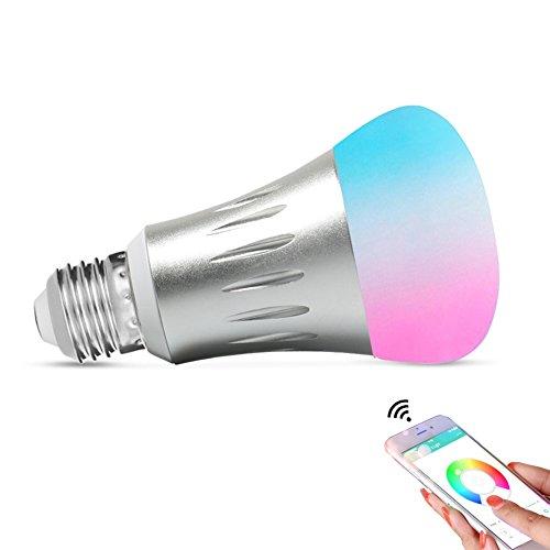 Expower Smart LED WiFi Lampen,7W Dimmbar Mehrfarbig RGB LED Birne E27 Glühbirnen ändern Stimmung Licht Arbeit mit Smartphone,Tablet, Amazon Echo Alexa,Steuerbar via App