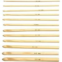 12 Aguja De Ganchillo Pa Tejer Bambú Medida Diferente Kit