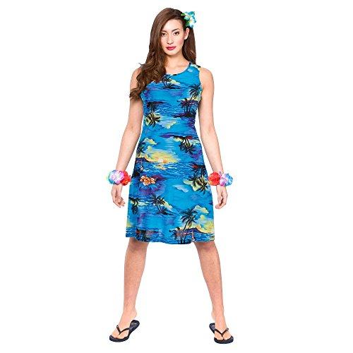 Hawaii Dress (Short Blue Palm) - Adult Costume Lady: S (UK:10-12)