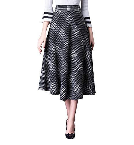 Damen Vintage Elegant Plaid Gestreiftes Wollrock Langen röcke Warm Wolle Winterrock (M (Taille:25.9''-27.5''), grau 1) - Vintage-wolle Plaid Rock