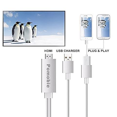 lacaca Câble Lightning vers adaptateur HDMI, Plug et Play numérique AV vers HDMI 1080p câble adaptateur connecteur Lightning pour iPhone 77Plus 6S 6S Plus 66Plus 55S 5C se, iPad, Samsung S3S4S5S6S7Note3Note4note5