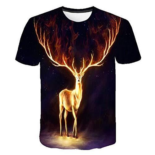 Männer Frühling Sommer Männer T-Shirts 3D Gedruckt Tier t-Shirt Kurzarm Lustige Design Casual Tops Tees Männlich,Neu Skeleton Print Schwarz - A XL (Cookie Cougar Cutter)