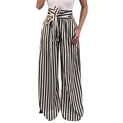 UFACE Striped Print Strap Hose mit weitem Bein Hose Damen Striped High Waist Harem Pants (XL/(44), Schwarz)