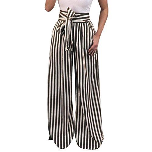 UFACE Striped Print Strap Hose mit weitem Bein Hose Damen Striped High Waist Harem Pants (S/(36), Schwarz) - Oversize-rechner