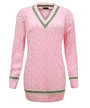 CEXI COUTURE LADIES WOMENS CABLE KNITTED V NECK CRICKET CHUNKY JUMPER SWEATER PINK