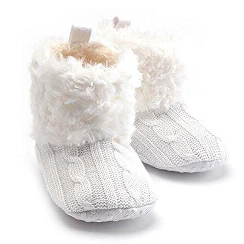 hibote Säuglingsbabyschuh Häkelarbeitknit Fleece Stiefel Kleinkind Mädchen Jungen Wolle Schneekrippe Winter Booties Weiß