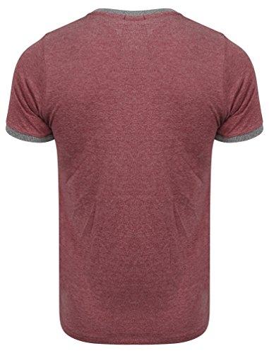 Tokyo Laundry Herren Tiger Lake Gedruckt Kurzärmlig Rundhals Regulär Beiläufig T-Shirt Größe S-XXL Bordeaux Rot