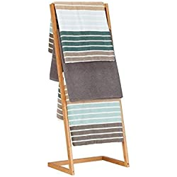 Relaxdays Toallero Escalera con 4 Barras, Bambú, Beige, 100 x 40 x 30 cm