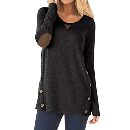 KOKOUK Women Long Sleeve Sweatshirt, Womens Fashion Casual Long Sleeve Round Neck Button Sweatshirt Loose Pullover Tops -