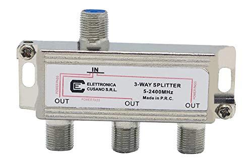 6333 - Splitter Satellitare 3 Vie, Partitore Antenna Tv da Interno con Connettore F, Splitter Satellitare, Ripartitore Antenna Tv, Partitore Tv Sat, Distributore di Segnale Terrestre e Satellitare