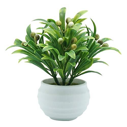little finger Bonsái Artificial con diseño de Bayas y Flores Artificiales, para Decorar el salón o el jardín, plástico, Verde, 1#