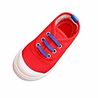Muium Toddler Infant Baby Kids Boys Girls Fashion Candy Color Canvas Shoes Sneakers Boots For 2-6 Years Old (22(aged 2.5-3 years), Red) (Red, 21(aged 2-2.5 years))