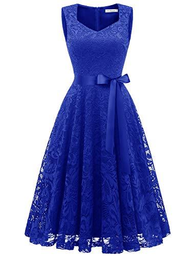 Gardenwed Damen Elegant Spitzenkleid Strech Herzform Abendkleid Cocktailkleider Partykleider Royal Blue XL -