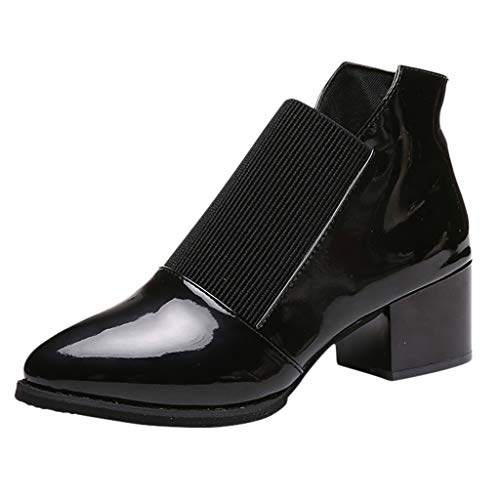 FNKDOR Schuhe Damen Booties Stiefeletten Retro Spitz Lederschuhe Chunky Heel Vamp Gummiband Lackleder Patchwork Schwarz 38 EU (Regen Hunter Stiefel Lila)
