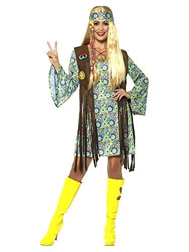 shoperama 60s Hippie Chick Damen-Kostüm Kleid Fransen-Weste Stirnband Kette 70er Jahre Seventies Sixties Flower Power Festival, (Fransen Hippie Kostüm)