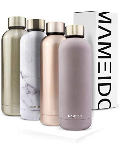 MAMEIDO Trinkflasche 500ml   Marmor Weiß Glänzend