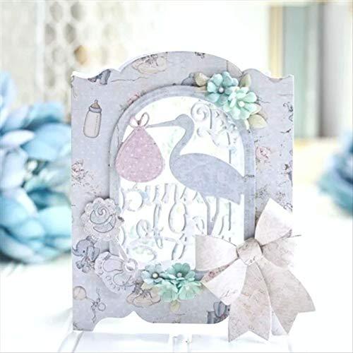 periwinkLuQ Stanzschablonen mit Kran-Vogel-Blumen-Rahmen, DIY Scrapbooking, Dekoration, Prägeschablonen, Silber