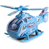Toykart Bump and Go Helicopter with Colorful 3-D Lights, Swirls and Music