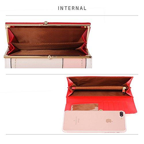 758bea9c03 LEESUN LONDON Da donna portamonete da Designerfaux portafogli in pelle di  alta qualità Rosso Red Patchwork Purse medium