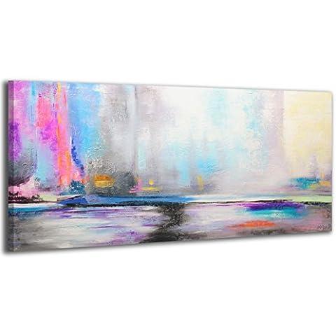 100% LABOR A MANO + certificado/ Aurora boreal/ El cuadro dibujado con pinturas acrílicas/ cuadros sobre el lienzo con bastidor de madera/ cuadro dibujado a mano/ montaje cómodo sobre la pared / Arte contemporáneo/ 115x50 cm