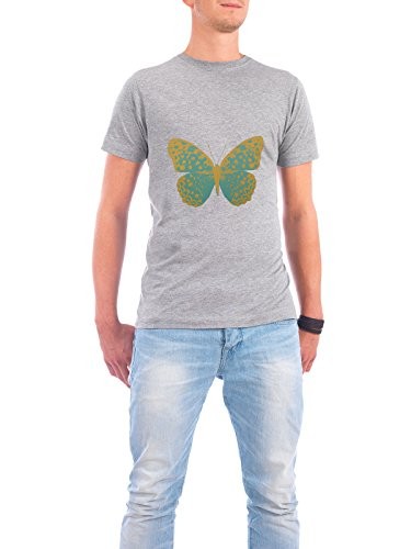 "Design T-Shirt Männer Continental Cotton ""Gold and Green Butterfly"" - stylisches Shirt Tiere Natur Fashion Fiktion von Paper Pixel Print Grau"