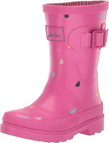 Joules Girls Pink Raindrops Wellies Rainboots
