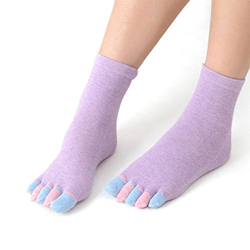 LuckyGirls Yoga Gym Non Slip Massage Toe Full Grip Ferse Baumwolle   Socken (lila) (Kurz Cartoon-baumwolle)
