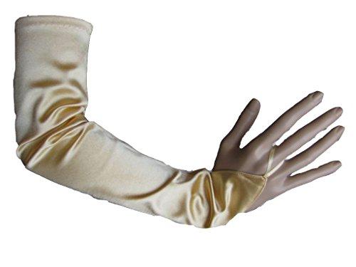 Damen Handschuhe Stulpen lang Satinhandschuh gold Fasching Karneval 50972